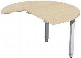 Geramöbel 667012 Anbautisch Dreiviertelkreis rechts mit Stützfüßen (BxTxH) 1200x1200x680-860mm Ahorn/Silber