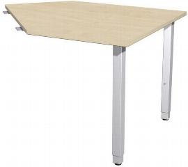 Geramöbel 667105 Datenanbautisch rechts mit Stützfüßen (BxTxH) 1060x1225x680-860mm Ahorn/Silber