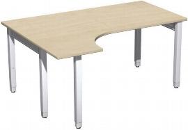 Geramöbel PC-Schreibtisch 4-Fuß Pro Quadrat 667308 PC links höhenverstellbar 68-86cm (BxT) 1600x1200cm Ahorn/Silber
