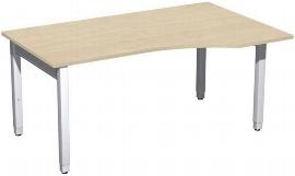 Geramöbel PC-Schreibtisch 4-Fuß Pro Quadrat 667311 PC rechts höhenverstellbar 68-86cm (BxT) 1600x1000cm Ahorn/Silber