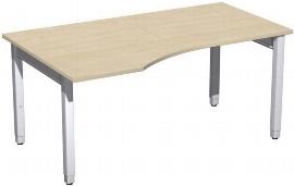 Geramöbel PC-Schreibtisch 4-Fuß Pro Quadrat 667312 PC links höhenverstellbar 68-86cm (BxT) 1600x1000cm Ahorn/Silber
