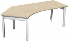 Geramöbel Schreibtisch 4-Fuß Pro Quadrat 667315 Winkel 135° links höhenverstellbar 68-86cm (BxT) 2166x1130cm Ahorn/Silber
