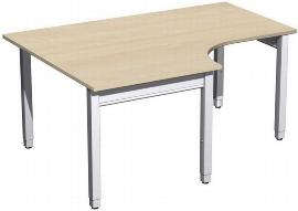 Geramöbel PC-Schreibtisch 4-Fuß Pro Quadrat 667320 PC links höhenverstellbar 68-86cm (BxT) 1600x1200cm Ahorn/Silber