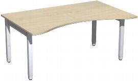 Geramöbel Schreibtisch 4-Fuß Pro Quadrat 667336 ERGOform höhenverstellbar 68-86cm (BxT) 1600x1000cm Ahorn/Silber