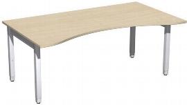 Geramöbel Schreibtisch 4-Fuß Pro Quadrat 667337 ERGOform höhenverstellbar 68-86cm (BxT) 1800x1000cm Ahorn/Silber