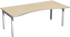 Geramöbel Schreibtisch 4-Fuß Pro Quadrat 667338 ERGOform höhenverstellbar 68-86cm (BxT) 2000x1000cm Ahorn/Silber