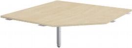 Geramöbel 667510 Verkettungsplatte Fünfeck 90° mit Stützfuß (BxTxH) 1225x1225x680-860mm Ahorn/Silber