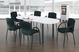 Geramöbel 710118 Konferenztisch Rundfuß, Ovalform, feste Höhe, 2000x1000x720, Ahorn/Silber