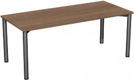 Geramöbel 710126 Konferenztisch Rundfuß feste Höhe, 1800x800x720, Nussbaum/Anthrazit