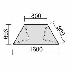 Geramöbel 710128 Trapezformtisch feste Höhe, 800-1600x693x720, Ahorn/Anthrazit