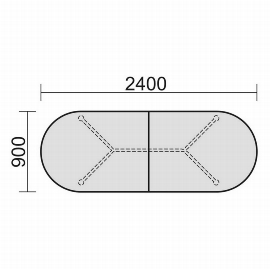 Geramöbel 714006 Konferenztisch Rundfuß, Ovalform mit geteilter Platte, feste Höhe, 2400x900x720, Ahorn/Silber