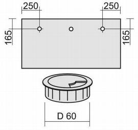 Geramöbel 05Z Kabeleinlassbuchse Silber Ø60 mm (Selbsteinbau) 3er Pack