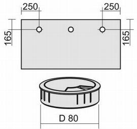 Geramöbel 05Z80 Kabeleinlassbuchse Ø80mm unmontiert Silber (Selbsteinbau) 3er Pack