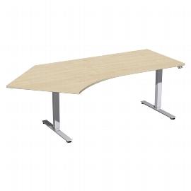 Geramöbel 08D1615 Elektro-Hubtisch Winkel 135° links (BxTxH) 2166x1130x700-1200mm Ahorn/Silber