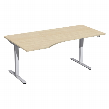 Geramöbel 08D1812 Elektro-Hubtisch Freiform links (BxTxH) 1800x1000x700-1200mm Ahorn/Silber