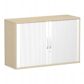 Germöbel 312210 Querrollladenschrank 2OH abschließbar (HxBxT) 798x1200x425mm Silber/Ahorn