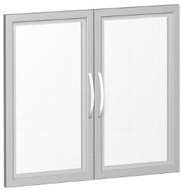 Geramöbel Glastürensatz 382901-GT Flex Glastüren satiniert 2er-Set 2OH für Korpusbreite 80cm Silber