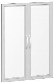 Geramöbel Glastürensatz 383901-GT Flex Glastüren satiniert 2er-Set 3OH für Korpusbreite 80cm Silber