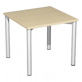 Geramöbel 550101 Schreibtisch 4-Fuß Flex feste Höhe (BxTxH) 80x80x72mm Ahorn/Silber