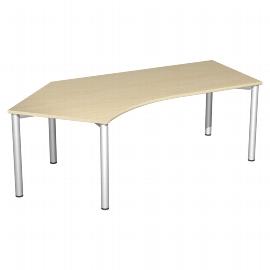 Geramöbel Schreibtisch 550315 4-Fuß Flex Winkel 135° links feste Höhe (BxTxH) 216,6x1130x72cm Ahorn/Silber