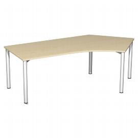 Geramöbel Schreibtisch 550316 4-Fuß Flex Winkel 135° rechts feste Höhe (BxTxH) 216,6x1130x72cm Ahorn/Silber