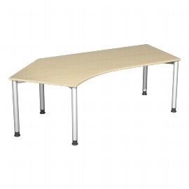 Geramöbel Schreibtisch 555315-AS 4-Fuß Flex Winkel 135° links höhenverstellbar 68-80cm (BxT) 216,6 x 113cm Ahorn/Silber