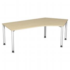Geramöbel Schreibtisch 555316-AS 4-Fuß Flex Winkel 135° rechts höhenverstellbar 68-80cm (BxT) 216,6 x 113cm Ahorn/Silber