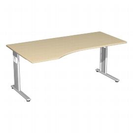 Geramöbel PC-Schreibtisch 617306 C-Fuß Flex PC links höhenverstellbar 68-82cm (BxT) 180x100cm Ahorn/Silber