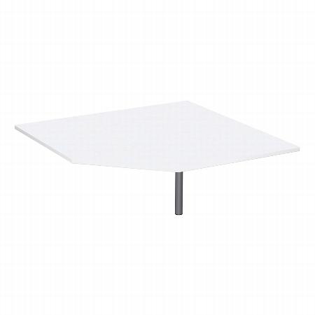 Geramöbel Verkettungsplatte 617510 C-Fuß Flex Fünfeck 90° inkl. Stützfuß (BxTxH) 122,5x122,5x68-82cm Ahorn/Silber