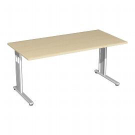 Geramöbel Schreibtisch 618103-AS C-Fuß Flex feste Höhe (BxTxH) 160 x 80 x 72cm Ahorn/Silber