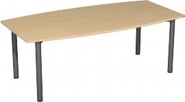 Geramöbel 710216 Konferenztisch Rundfuß, Faßform, feste Höhe, 2000x800-1200x720, Lichtgrau/Silber