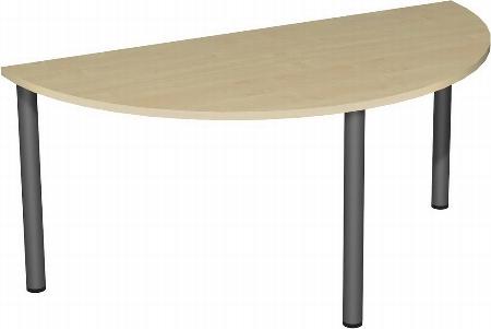 Geramöbel 710712 Konferenztisch Halbkreisform Rundfuß feste Höhe, 1800x800x720, Buche/Silber