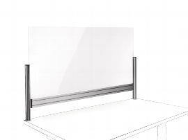 Novus 976+1209 TSS Office Protect C Acryl-Glas Trennwand 120 cm mit Systemzwinge Silber