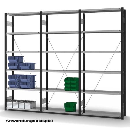 hofe Fachbodenregal Grundregal HAG255007XL zerlegt 6 Böden (HxTxB) 2500x500x750mm Anthrazitgrau