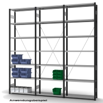 hofe Fachbodenregal Grundregal HAG306010XL zerlegt 7 Böden (HxTxB) 3000x600x1300mm Anthrazitgrau
