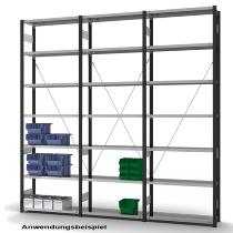 hofe Fachbodenregal Anbauregal HAA305013XL zerlegt 7 Böden (HxTxB) 3000x500x1300mm Anthrazitgrau