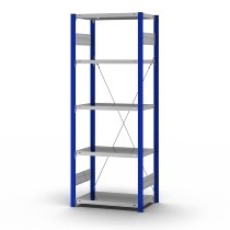 hofe Fachbodenregal Grundregal HEG204013XL zerlegt 5 Böden (HxTxB) 2000x400x1300mm Enzianblau