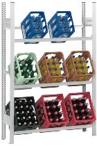 hofe Getränkekistenregal Grundregal HKG 17307 GK zerlegt 3 Ebenen (HxBxT) 1750x750x300mm Lichtgrau