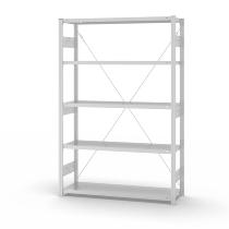 hofe Fachbodenregal Grundregal HKG20413XS zerlegt 5 Böden (HxTxB) 2000x400x1300mm Lichtgrau