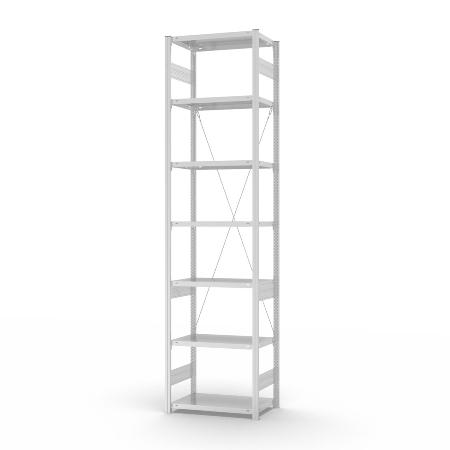 hofe Fachbodenregal Anbauregal HKA30510XL zerlegt 7 Böden (HxTxB) 3000x500x1000mm Lichtgrau