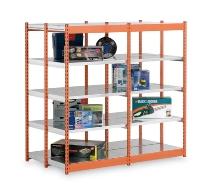 hofe Fachboden-Rohrregal Grundregal doppelseitig ROG 204010 MD zerlegt 10 Böden (HxBxT) 2000x1025x800mm Orange