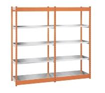 hofe Fachboden-Rohrregal Grundregal einseitig ROG 204010 ME zerlegt 5 Böden (HxBxT) 2000x1025x400mm Orange