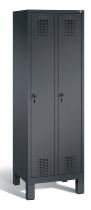 C+P Garderobenschrank 48010-20 Evolo 2 Abteile 300mm (HxBxT) 1850x610x500mm Schwarzgrau