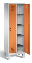 C+P Wäscheschrank 48010-20B Evolo auf Füßen 2 Abteile 300mm, Türen einzeln verschließbar (HxBxT)1850x610x500mm Lichtgrau/Gelborange