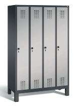 C+P Garderobenschrank 48010-40 Evolo 4 Abteile 300mm (HxBxT) 1850x1190x500mm Schwarzgrau/Weißaluminium