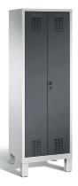 C+P Wäscheschrank 48012-20B Evolo auf Füßen 2 Abteile 300mm, Türen zueinanderschlagen (HxBxT)1850x610x500mm Lichtgrau/Schwarzgrau