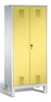 C+P Doppelspind Evolo 48012-22 auf Füßen 2 Abteile 400mm (HxBxT) 1850x810x500mm Lichtgrau/Schwefelgelb