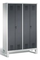 C+P Doppelspind Evolo 48012-40 auf Füßen 4 Abteile 300mm (HxBxT) 1850x1190x500mm Lichtgrau/Schwarzgrau
