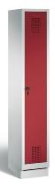 C+P Garderobenschrank 48020-10 Evolo auf Sockel 1 Abteil 300mm (HxBxT) 1800x320x500mm Lichtgrau/Rubinrot