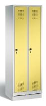 C+P Wäscheschrank 48020-20B Evolo auf Sockel 2 Abteile 300mm, Türen einzeln verschließbar (HxBxT)1800x610x500mm Lichtgrau/Schwefelgelb
